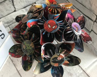 Comic book, superhero, bouquet. Superman, Batman, Thor, Hulk, Spiderman, Captain America, Ironman. Gifts for him, gifts for her.