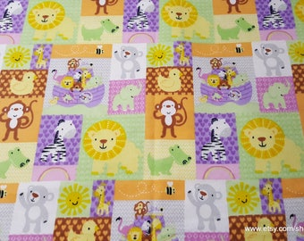 Flannel Fabric - Noah's Ark Patch - By the yard - 100% Cotton Flannel