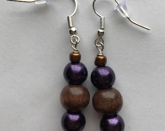Purple and Brown Drop Earrings, Purple Brown Beaded Drop Earrings, Purple Brown earrings, Brown Purple Earrings, Purple Beaded earrings