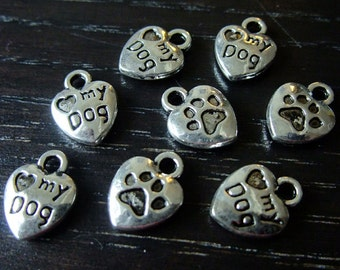 Destash (8) I Love My Dog Heart paw prints silver charms - for pendants, jewelry making, crafts, scrapbooking