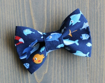Cat Bow Tie, Fish Themed Dog Fashion Accessory, Collar NOT included, Handmade in Canada, Nautical, Shark, Bowtie
