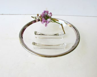 Mid Century Modern Dorothy Thorpe Style Footed Bowl - Silver Rimmed Bowl - Nuts Bowl - Hollywood Regency - Garnish Bowl - Footed Glass Bowl