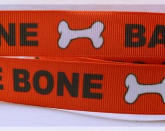 "Bad to the Bone Dog Puppy Paws Bones Printed Grosgrain Ribbon 7/8"" Scrapbooking Hair Bows bb012318"