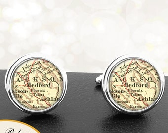 Map Cufflinks Medford OR Cuff Links State of Oregon for Groomsmen Wedding Party Fathers Dads Men