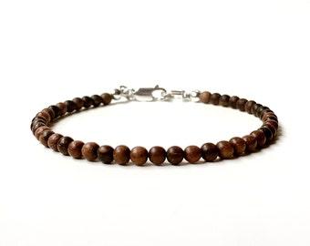 Bracelet - 4mm Tiger Ebony Wood Bead Bracelet - Wooden Ball Bracelet - Sterling Silver or 14k Gold Fill - Oil Diffuser Jewelry