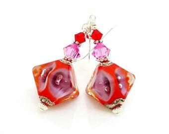 Red Earrings, Lampwork Earrings, Glass Earrings, Glass Bead Earrings, Beadwork Earrings, Glass Art Earrings, Unique Earrings, Drop Earrings