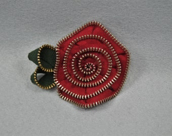 Red Flower Brooch, Zipper Brooch, Red Brooch, Red Pin, Zipper Pin, Zipper Art, Flower Pin, Upcycled, Recycled, Repurposed