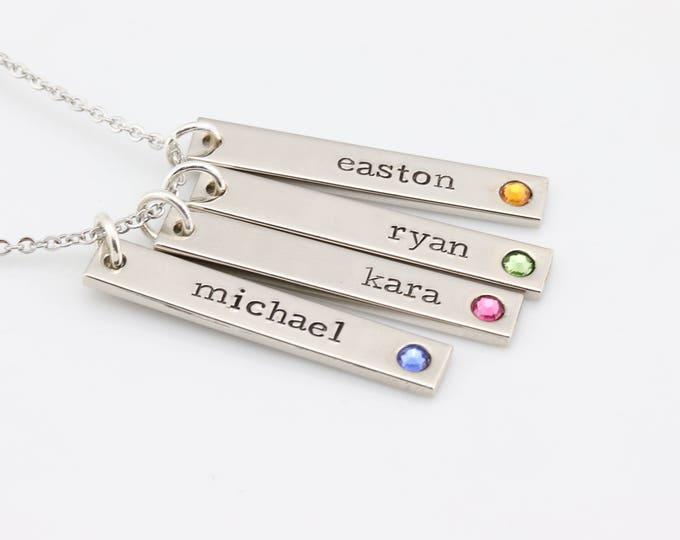 Birthstone Jewelry - Mothers Jewelry - Birthstone Bar Necklace - Family Jewelry Personalized Birthstone Necklace - Birthstone Name Necklace