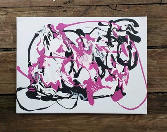 Abstract Original 8x10 Acrylic Painting on Canvas Pink and Black