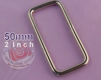 30 Pieces Wire-Formed Rectangle Rings - 2 inch / 50mm wide in nickel finish