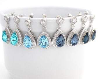 Light Blue Art Deco Wedding Earrings, Dark Blue Statement Wedding Earrings, Blue Wedding Teardrop Earrings, Cubic Zirconia Earrings, Dangle
