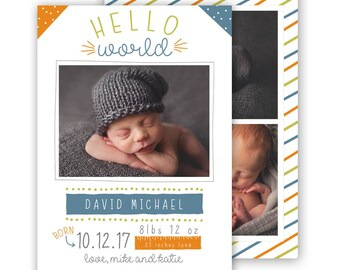 Birth Announcement Template, 5x7 boy birth announcement template, photography template