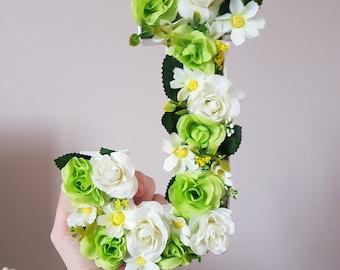 3D Flower Initial J 8 inch *Flowers* *Nursery Decor*