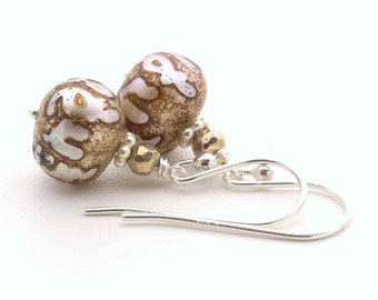 Etched Pearl Earrings. White Freshwater Pearls Etched with Buddhist Om Mantra From Nepal