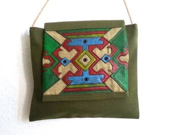 A handmade bag with Armenian painted traditional pattern