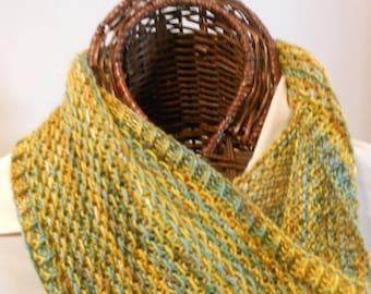 GOLDS and AQUAS Silk/Wool Cowl