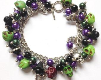Skull bracelet, skull charm bracelet, green skull bracelet, howlite skulls