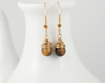 Tiger Eye Drop Earrings 14k Gold, Sterling Silver, with Beaded Detail on Handmade Earwires