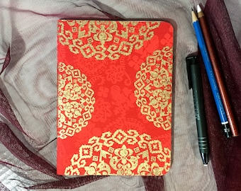 Blank Notebook with Red and Gold Pattern Cover