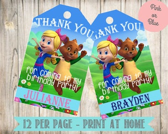 Personalized Goldie and Bear Favor Tags- Goldie and Bear Thank You Tags-Digital File