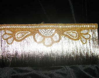 Clutch Purse Gold Lame with Rhinestones