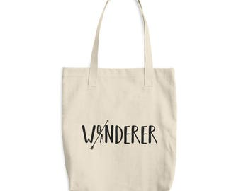 Wo/anderer Tote Bag, Wanderer tote bag, Wonderer tote bag, boho bag, purse, quote bag, arrow bag, grocery bag, school bag, gifts for her