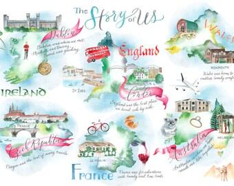 Custom Wedding Stationery: The Story of Us Love Story Stationery Design, Invitations, Engagement or Wedding Invites