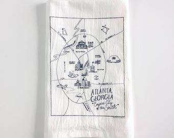 Atlanta, Georgia Map Flour Sack Towel