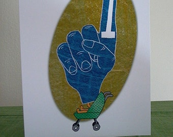First Birthday - Greeting Card - Baby BOY - Sports Fan - Foam Finger - Collage Art