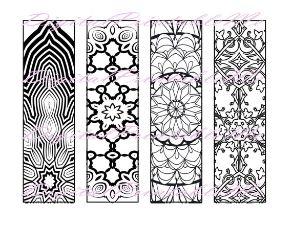 Printable bookmark coloring page book mark adult instant for Zentangle per bambini