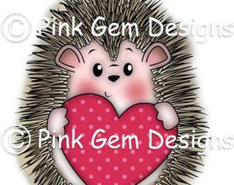 Digital Digi Stamp  Hedgy with Heart - Birthday, Hedgehog, Valentines, Mothers Day, Love