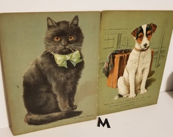 2 Antique illustrations full page Dogs Cats children's Storybook sepia color pictures story book ephemera paper art supplies lot M