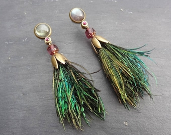 "Medium earrings peacock feathers ""Atheya"""