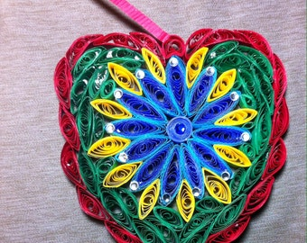 Quilled Heart with rhinestones. Valentine, Mother Day. Red green blue yellow.