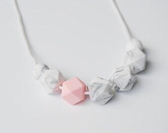 Teething necklace, nursing necklace, whIte pink breastfeeding necklace, baby gift, silicone necklace, geometric necklace, chewelry