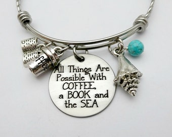 Coffee, Beach and Book Lover. All Things Are Possible with COFFEE, a Book and the SEA Bracelet or Necklace, Coffee Lover Gift, Beach
