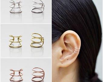 925 Sterling Silver Earrings, Ear Cuff Earring, Gold Plated Earrings, Rose Gold Plated Earrings (Code : E72A)
