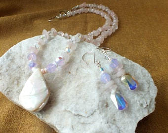 Rose Quartz Swarovski Necklace and Earrings Set. Great Mother's Day Gift.