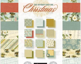 """CHRISTMAS CARD STOCK, 12 X 12 Card Stock, Winter Floral Card Stock, Couture Creations, Let Every Day be Christmas,  12"""" x 12"""" Christmas"""