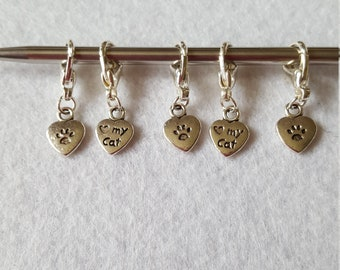 Tibetan Silver 'Love My Cat' Stitch Markers / Progress Keepers for Knitting or Crochet