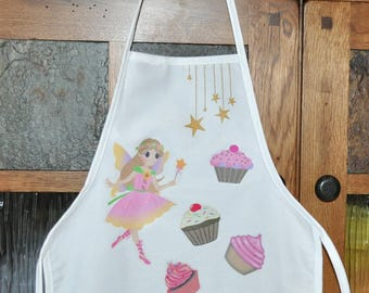 Personalized Kids Apron, White Apron With Fairy, Sprinkled with Love Apron, Childs Apron, Fairy And Cupcake Apron