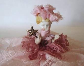 "Assemblage Angel ""Pink""  Assemblage Art Doll, Antique Doll Parts, Vintage Style Art Doll"