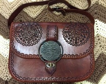 Vintage 1970's hand tooled dark brown leather handbag purse