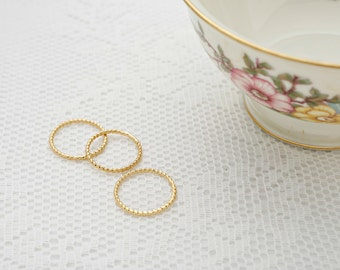Thin gold ring, Stacking Ring, twisted gold rings, knuckle skinny gold filled ring, dainty set of rings, everyday jewelry.