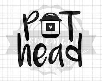 Instant Pot Decal - Pot Head - Black Vinyl
