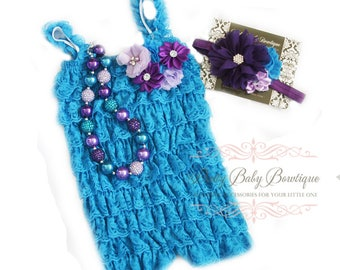 Birthday Cake Smash Outfit Girl Turquoise Blue Lace Romper Purple Headband Necklace SET Baby Pettiromper Baby Ruffle Romper, Baby Photo