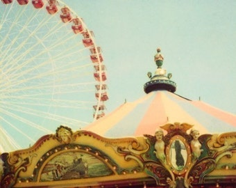 Polaroid Print - Carnival Photograph - Ferris Wheel Print - Carousel Art - A Fine Way To Spend The Afternoon - Fine Art Print - Polaroid Art