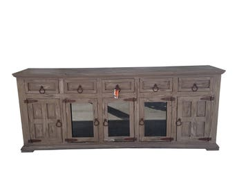80 inch Hi End Rustic TV Stand 5 Doors 5 Drawers Western Solid Wood Grey Distressed Rough Cut Finish Ships Already Assembled