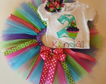 Personalized Cupcake Birthday tutu outfit