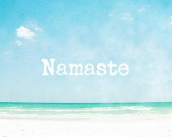 Yoga Art, Namaste Art Prints, Yoga Studio Decor, Yoga Wall Art, Spiritual Art, Yoga Quotes, Beach Photography